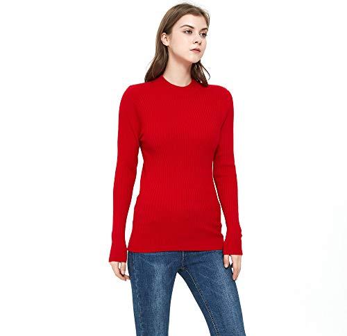 ZLUXURQ Suéter Rojo de Manga Larga con Cuello Alto para Mujer, Corte Ajustado, cómodo y cálido