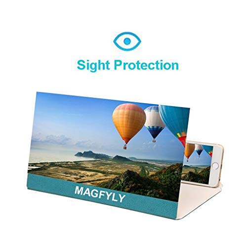 YM09 Praktische 12 inch mobiele telefoon vergrootglas voor ligstoel, grote rechthoek vergrootglas met standaard en lederen behuizing, Desktop & handheld opvouwbare draagbare tulpen, pak voor elke smartphone, Android & IPhone, Blauw