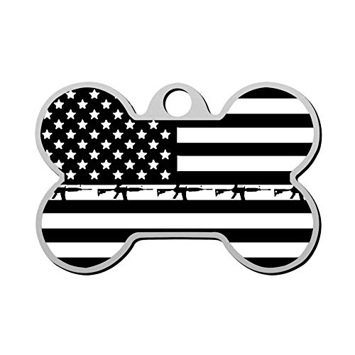 GPZHM Customized American Flag Pet Tag - Bone Shaped Dog Tag & Cat Tags Pet ID Tag Personalized Custom Your Pet's Name & Number 3D Printing