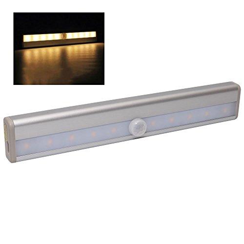 人感 センサーライト LEDライト バッテリー内蔵 自動点灯 消灯 充電式 簡単取付 照明 トイレ 玄関 クローゼット (電球色) PR-USB0406-YE