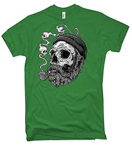 NG articlezz Sailor Barba Camiseta Hombre Capitán Barba Pirate Calavera Capitán - Verde/Verde, L
