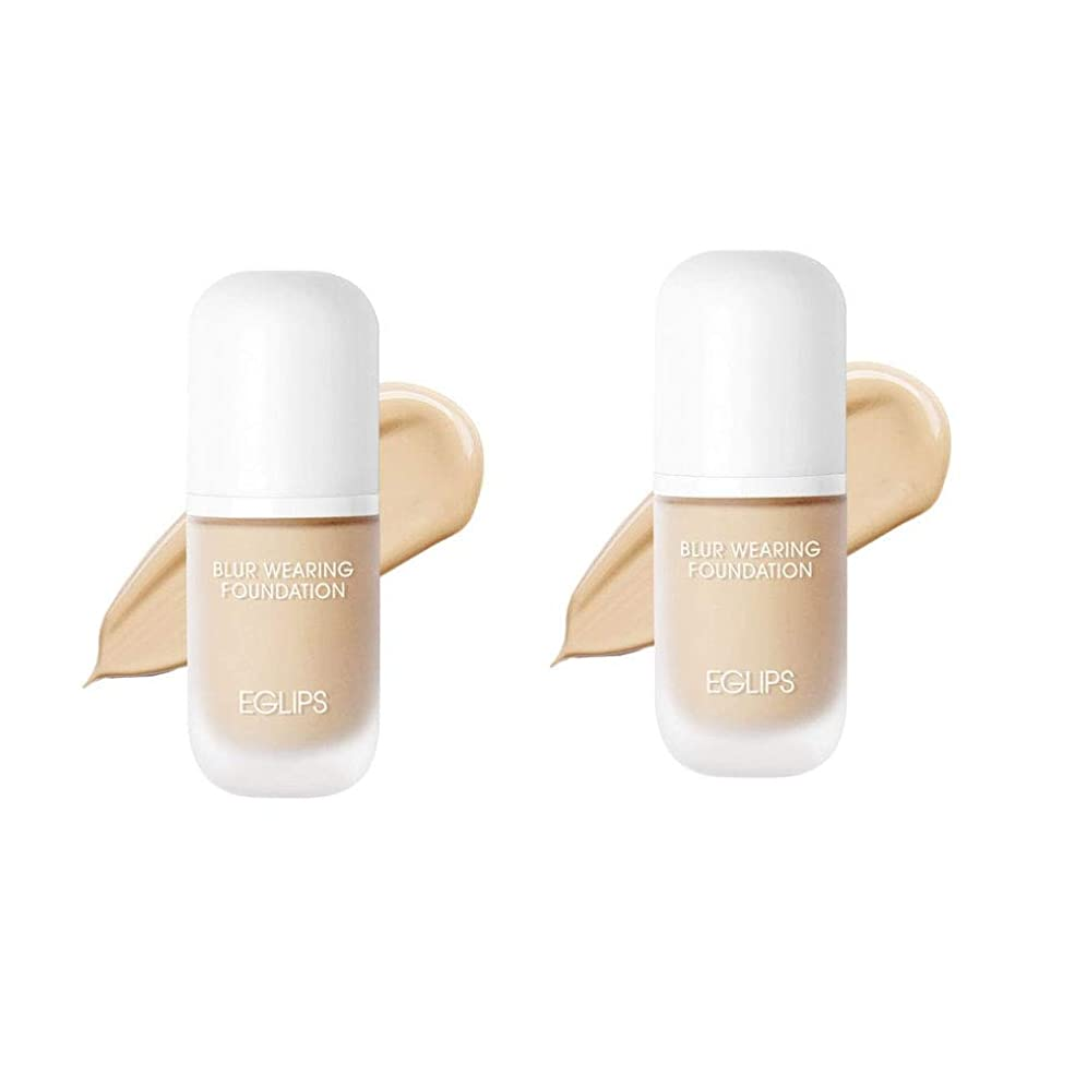 魔術師モニカよろめくイーグルリップスブラーウェアリングファンデーション 30mlx2本セット3カラー韓国コスメ、EGLIPS Blur Wearing Foundation 30ml x 2ea Set 3 Colors Korean Cosmetics [並行輸入品] (Y21. Vanilla)