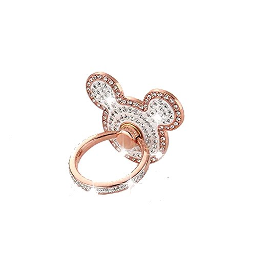 Universal Cell phone holder,Sunvy New Design Luxury Full Diamond Lovely Cat Shape Ring Grip Stand Car Mounts for Iphone, Ipad, Samsung HTC Nokia Smartphones Great Gift (Rose gold)