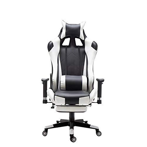 Sedia da gaming, sedia da scrivania con poggiapiedi, design ergonomico, poggiatesta regolabile, supporto lombare, colore bianco, braccioli regolabili, telaio in acciaio, inclinazione inclinabile