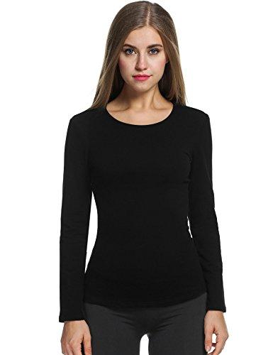Avidlove damska koszulka z długim rękawem, top, bluza termiczna, z długim rękawem, bawełna, z okrągłym dekoltem, podkoszulek, bielizna funkcyjna, bielizna termiczna, narciarska, snowboard, duże rozmiary
