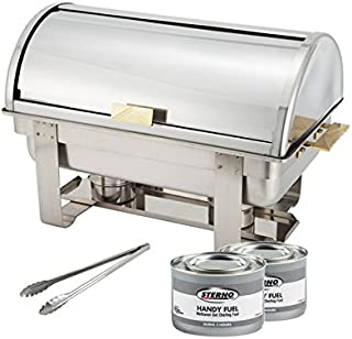 Winware 8 Qt Stainless Steel Roll-Top Chafer, Gold Accent, Chafing Dish Set with 2 Chafing Dish Methanol Gel Fuel and 16-Inch Stainless Steel Multi-Function Tong