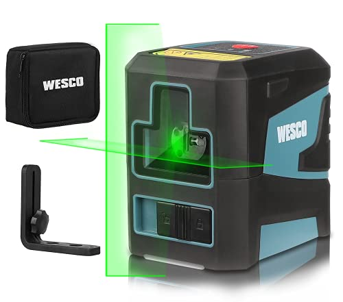 Kreuzlinienlaser, WESCO Selbstnivellierend Grün Laser Kreuzlinienlaser (Genauigkeit:±1.5mm/5m), 360° Umschaltbar, IP54 Staub und Wasserschutz inkl. Halterung und Schutztasche