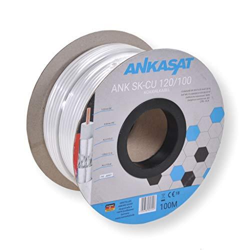 Ankasat SK-CU 120dB - 100m CPR - 120 dB Koaxial Sat Kabel 4-Fach geschirmt 100 Meter Vollkupfer Innenleiter- mit Meterbedruckung/Antennenkabel für DVB-S/S2, DVB-C, DVB-T/T2