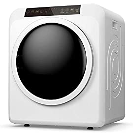 """Panda PAN206ET Electric Portable Compact Cloth Dryer, White 3 Space Saving Design which is perfect for apartments or other small living spaces, such as dorms, RVs. And it also can be the second dryer in your house. Multifunctional: combined with Intelligent Dry Programs which have been set according to the material and quantity of clothing; and Manual """"Time"""" Dry Program with 3 """"Temp"""" Programs setting: by Press """"Time"""" Button to choose drying time from 30min, 1hour, 1hour and 30 min, and 2hours, and Press """"Temp"""" to choose the desired temperature, including High (high temperature), Med (medium temperature) and Air (air dry), which offer flexibility and deliver optimal drying results. Adopted the """"Wrinkle Guard"""" function that the tumble will reverse the rotation direction at the end of this drying cycle for improving drying efficiency to prevent tangling, effectively reducing wrinkles"""