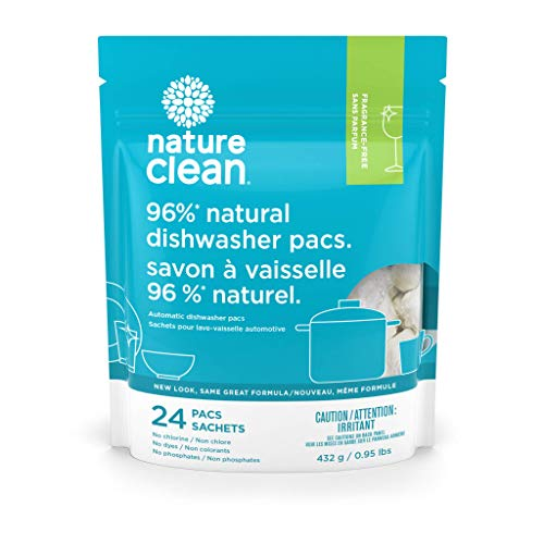 Nature Clean Automatic Dishwasher Pacs, Kosher, Naturally Derived, Fragrance Free, 24Count, 0.95 Lbs