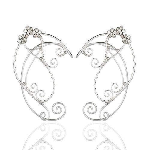 SXNK7 Chic Elf Pearl Hollowed Leaf Cosplay Fairy Ear Wrap Cuffs Earrings for Women Girls Wedding Jewelry (Flower Freespirit Ear Cuffs)