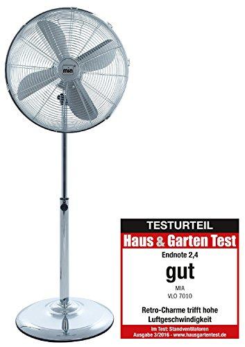 Retro-Design Metall Standventilator / Ventilator 133cm, Verchromte Windmaschine mit 3 Geschwindigkeitsstufen, Oszillierend, Luftkühler mit 45 cm Durchmesser