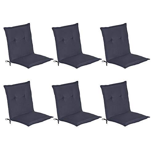 Beautissu Niederlehner Auflagen 6erSet Loft HL Gartenstuhlauflage 100x50 m Sitzkissen für Niedriglehner Sitzpolster Dunkelblau