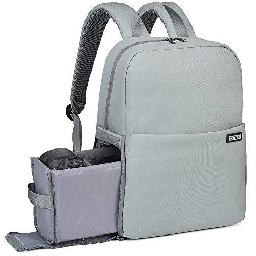 Kamerarucksack, CADeN Wasserabweisend Kameratasche Dual Use DSLR Bag Diebstahl Fotorucksack Kompatibel mit Spiegelreflexkamera Canon Nikon Sony(Hellgrau)