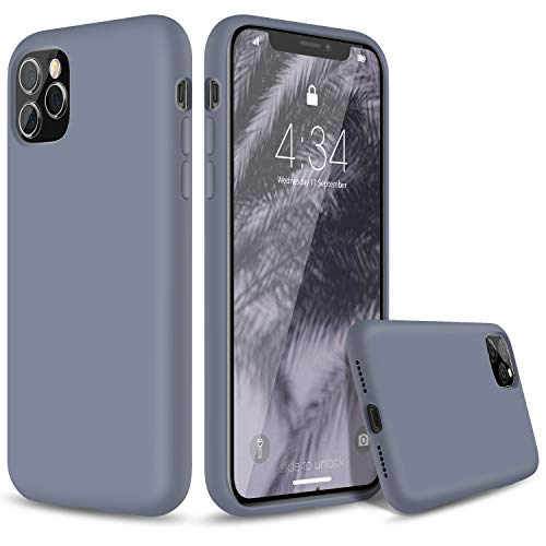 abitku Silicone Case for iPhone 11 Pro Max, Liquid Silicone Gel Rubber Shockproof Protective Case Cover (Full Body Case with Microfiber Lining) Compatible with iPhone 11 Pro Max 6.5' (Lavender Gray)