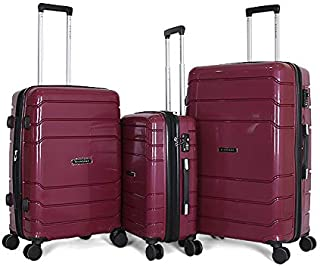 Giordano Luggage Trolley Bags For Unisex 3 Pcs, Maroon, 7200