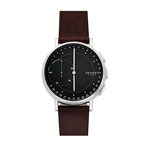 Skagen Connected Men's Signatur Stainless Steel and Leather Hybrid Smartwatch, Color: Silver-Tone, Dark Brown (Model: SKT1111)