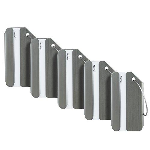 Travelambo Luggage Tags & Bag Tags Stainless Steel Aluminum Various Colors (Metallic Gun 5 pcs Set)