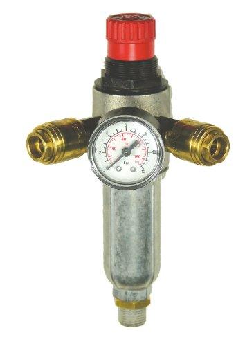 Mecafer 152172 filter, drukregelaar met 2 ventielen, 1/4 inch stekker