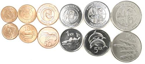 Iceland 6 Coins Set 1981-2005 UNC Icelandic AURAR, Krona Collectible Coins for Your Coin Album, Coin Holders OR Coin Collection