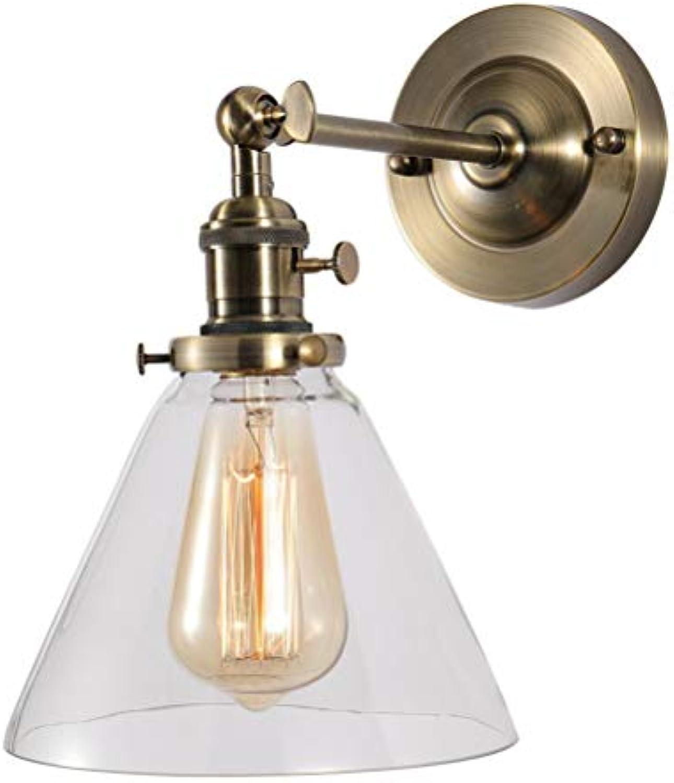 LIGHTLAMPER Schne Wandlampe Modern Einfach Drehbar Verstellbar Wandleuchten Metall Lampenkrper Glas Transparent Kegel Lichtkrper Bronze Schlafzimmer Wandbeleuchtung Glühlampe