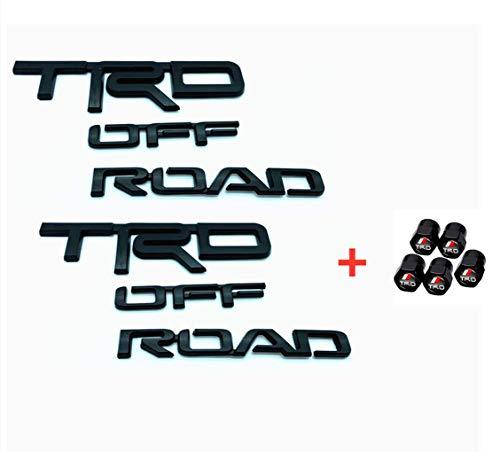 Black 4r TrdOffRd Ovrlay 00016-89707 Side Emblem Car Decal Logo Sticker for 4Runner PRADO RAV4 Tacoma Tundra Sequoia FJ Cruiser + 5 pcs Valve Stem Caps