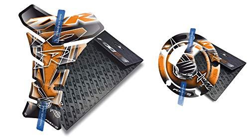Fooqs Tankpad y Cappad para Kawasaki ZX10R ZX 10R ZX10 Z X 10 R (Naranja)