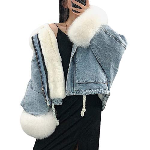 Minetom Damen Winter Plüsch Gefütterte Kragen Denim Jacken Langarm Jeansjacke Fleecejacke Mantel Warme Winterjacke mit Kordelzug Blau Weiß 38