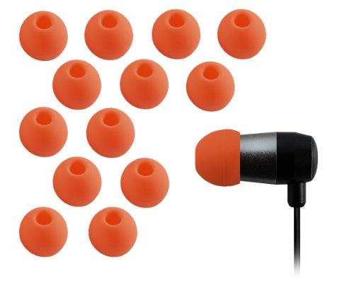 Xcessor Ricambio Auricolari Earbud/Earpad in Silicone 7 Paia (Set da 14 Pezzi). Compatibile con la Maggior Auricolare Cuffie Marche. Taglia: GRANDE (L). Arancione