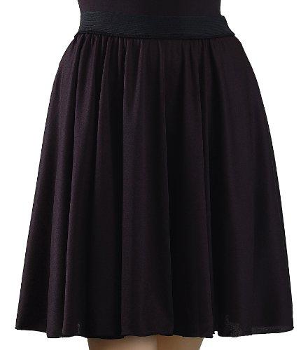 Trienawear Womens Circle Dance Skirt, 18' Pull On Elastic Waist, TR718, Black S