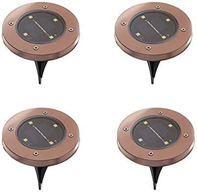 Bell + Howell Disk Lights Bronze – Heavy Duty Outdoor Solar Pathway Lights – 4 LED, Auto On/Off, Water Resistant, with Included Stakes, for Garden, Yard, Patio and Lawn - As Seen on TV