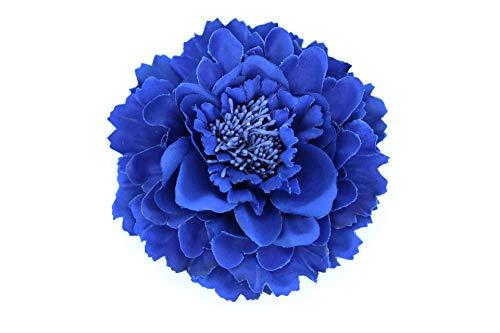 Flore de tela con broche 'Elena' (Azul eléctrico)