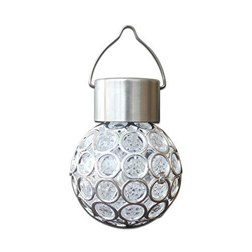 A-myt Puede vestir el jardín ahuecado lámpara de bola para exteriores, jardín, patio, patio, luz LED colgante linterna impermeable multifuncional (Color emisor: blanco)