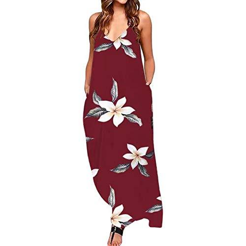 riou Vestidos Mujer Casual Largos Falda Vestido Florales Playeros Verano Cuello en V Vestido Bohemio Falda Larga Playa Vacaciones
