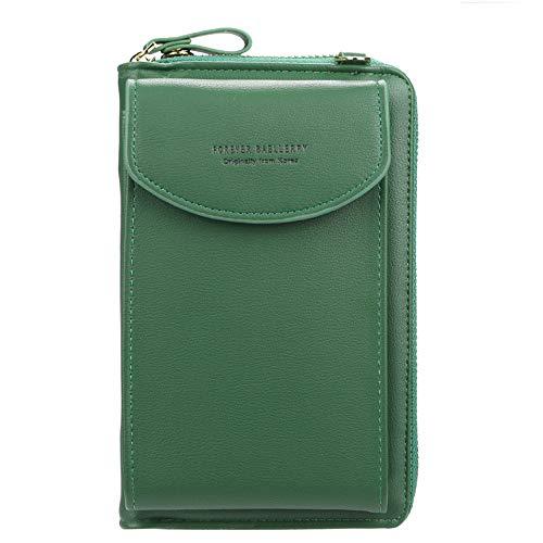 Ecosway Geldbörse für Damen, große Kartenfächer, Handtasche, einfarbig, diagonale Tasche, Multifunktions-Clutch mit Reißverschlusstasche, grün (Grün) - EB020200506A