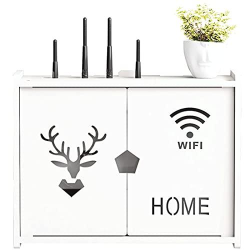 LYFANG Caja de Almacenamiento de Enrutador Inalámbrico con Patrón de Cabeza de Ciervo Caja de Almacenamiento WiFi de Pared Caja de Almacenamiento de Enrutador Wi-Fi con Vacío Apto para Sala de Estar