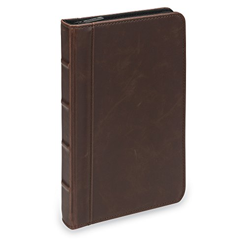 Samsill Small Vintage Portfolio/Zipper Faux Leather Portfolio, Book Style Hardback Design, Business & Interview Padfolio Organizer, 5 x 8 Writing Pad, Dark Brown