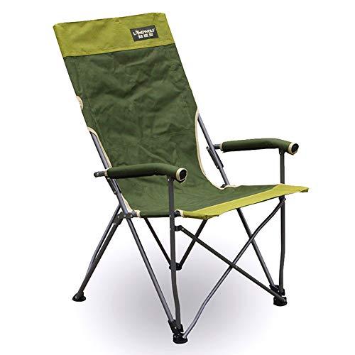 Stuhl Camping Recliner Angeln Sessel, Deluxe Padded Einfach zu Lendenrückenstütze Oversize 150 kg Kapazität für Wanderer Camping Strand, Green