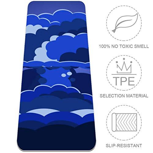 Esterilla de yoga Blue Awesome Explosion Cloud para yoga, ecológica, antideslizante, antidesgarros, para yoga, pilates, estiramiento en el suelo, para entrenamiento de meditación, 183 x 61 cm