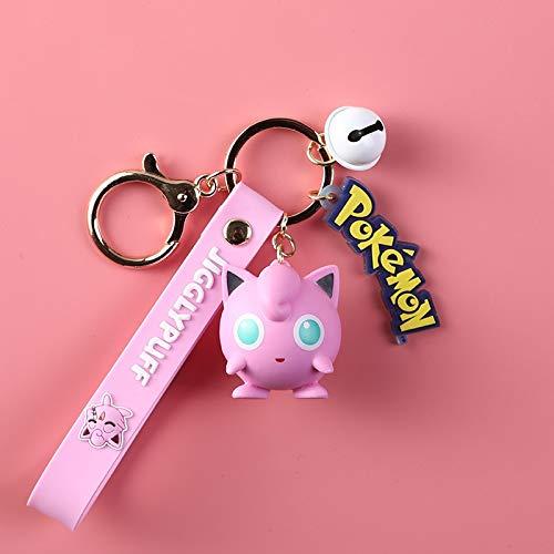Xpccj Key Chains Pokemon Pikachu Figures Fashion Cartoon Keychain Pendant Pokémon Anime Decorations Model Toys Dolls Child Birthday Gift Accessories (Color : Purin)