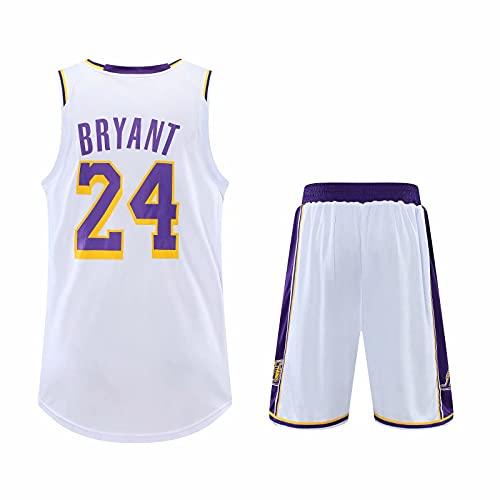 TINKOU Divise da Basket NBA, Top E Pantaloni Traspiranti Estivi per Adulti, Uniformi da Basket Lakers della Serie Fan