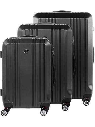 FERGÉ Kofferset Hartschale 3-teilig Cannes Trolley-Set mit Handgepäck 3er Set Hartschalenkoffer Roll-Koffer Reise-Trolley mit 4 Rollen ABS grau