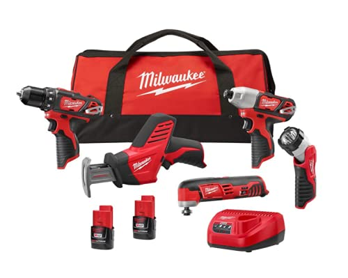 Milwaukee M1212-Volt Lithium-Ion Cordless Combo Kit (5-Tool) with Two 1.5 Ah Batteries, Charger and Tool Bag