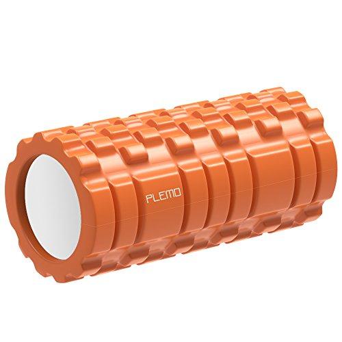Plemo Rodillo de Espuma para Terapia Física / Entrenamientos / Estiramientos y Ejercicio, Diseño Antideslizante para la Posición y el Equilibrio, 33 x 14 cm, Naranja