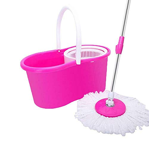 Microfiber Magic Easy Floor Mop with Bucket 2 Heads 360° Rotating Pink Color