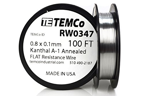 TEMCo Flat Ribbon Kanthal A1 Wire 0.8mm x 0.1mm Resistance A-1