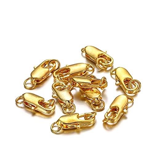 WEIYUE 30 unidades de cierre giratorio con anillo de salto abierto, collar, pulsera, mosquetón, accesorios para hacer joyas (color: dorado, tamaño: 12 x 4,5 x 5 mm)