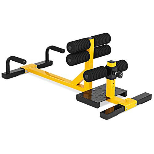 GYMAX Sissy Squat Machine, 3-in-1 Deep Sissy Squat Machine with Strap Circles & Adjustable Height, Perfect for Push-up, Sissy Squat & Abs Training, Workout Equipment for Home, Gym (Yellow)