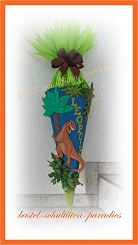 Schultüten Bastelset Dino Rex blau mit Blättern