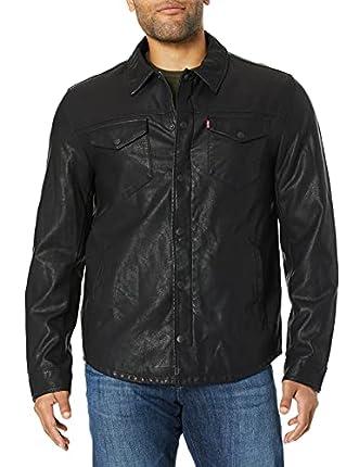 Levi's - Chaqueta tipo camisa de piel sintética para hombre (tacto de cordero liso) - Negro - XX-Large